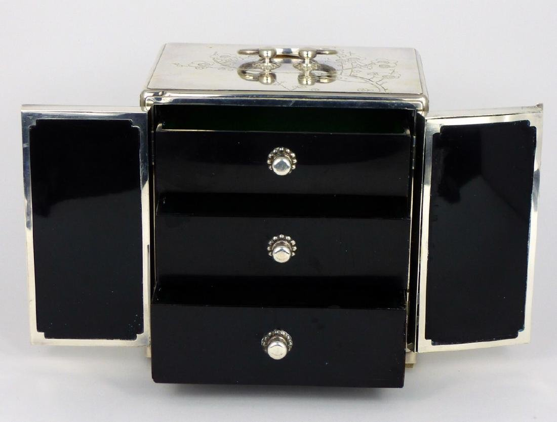 JAPANESE STERLING SILVER JEWELRY BOX - 5