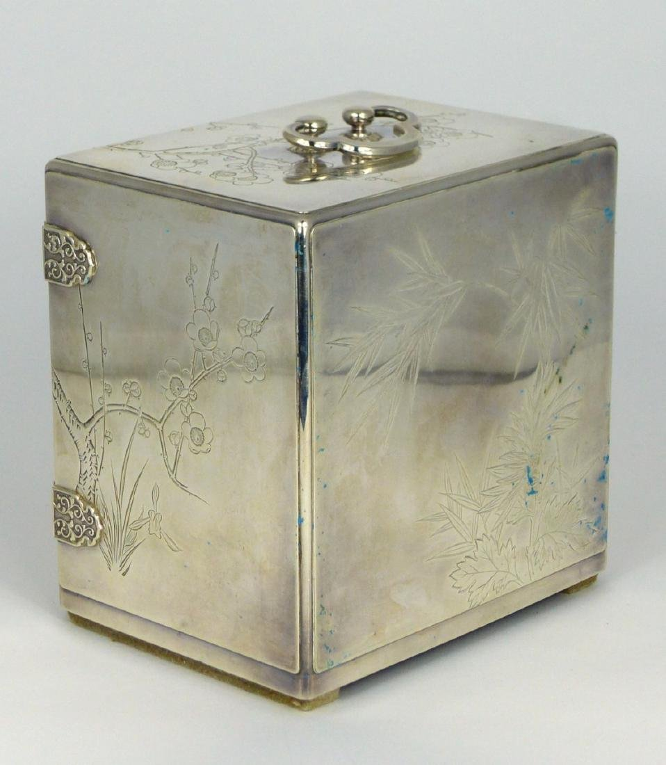 JAPANESE STERLING SILVER JEWELRY BOX - 6