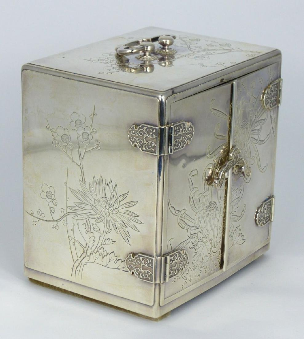 JAPANESE STERLING SILVER JEWELRY BOX - 9