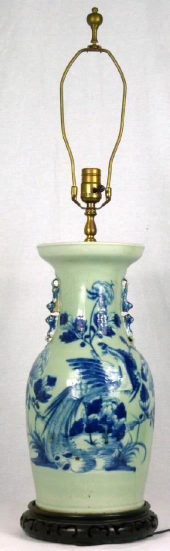 CHINESE BLUE & CELADON PORCELAIN VASE LAMP - 10