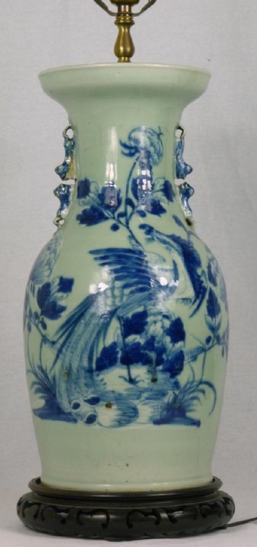 CHINESE BLUE & CELADON PORCELAIN VASE LAMP