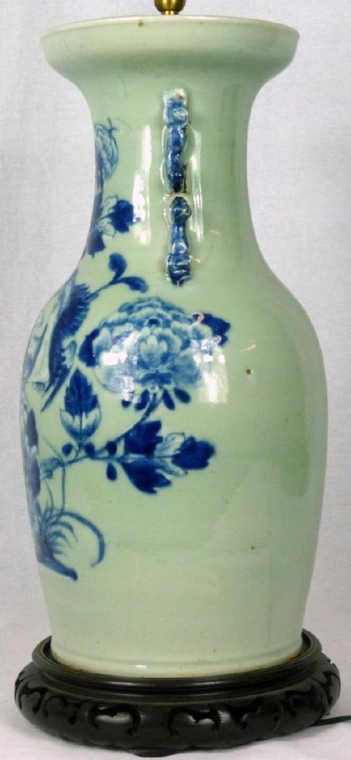 CHINESE BLUE & CELADON PORCELAIN VASE LAMP - 3