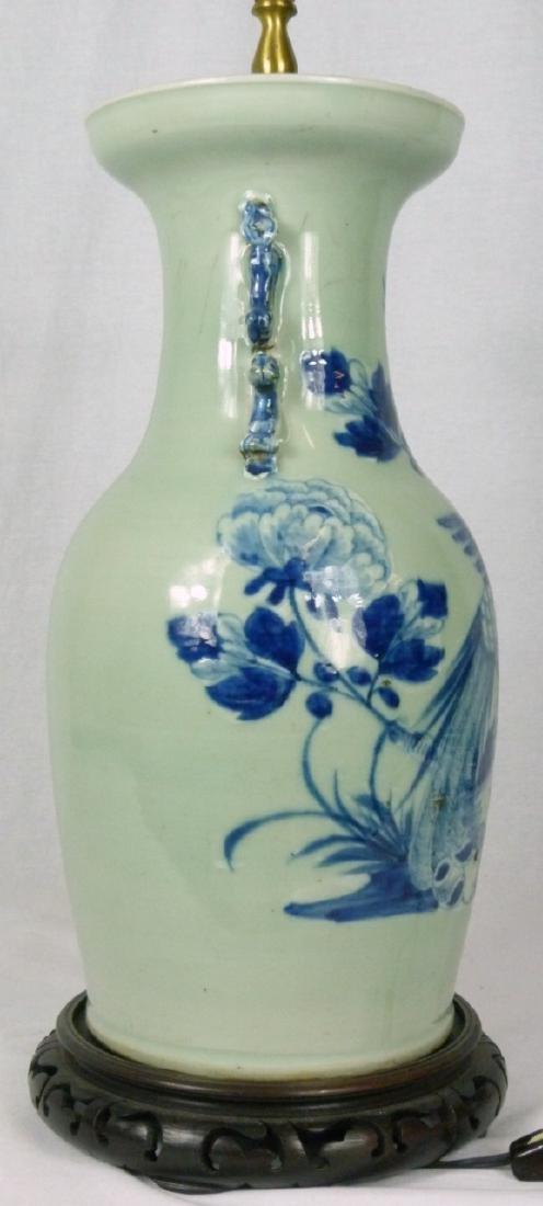 CHINESE BLUE & CELADON PORCELAIN VASE LAMP - 6