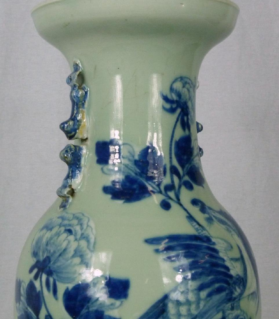 CHINESE BLUE & CELADON PORCELAIN VASE LAMP - 7