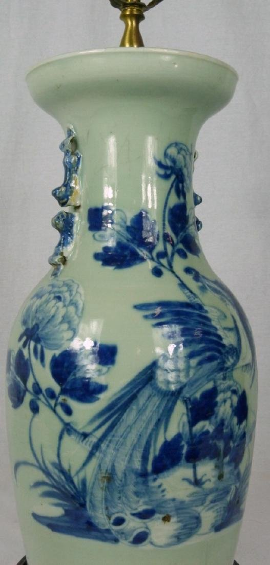CHINESE BLUE & CELADON PORCELAIN VASE LAMP - 8