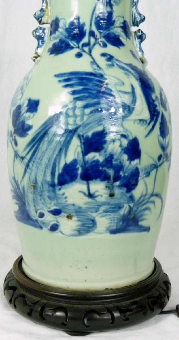 CHINESE BLUE & CELADON PORCELAIN VASE LAMP - 9