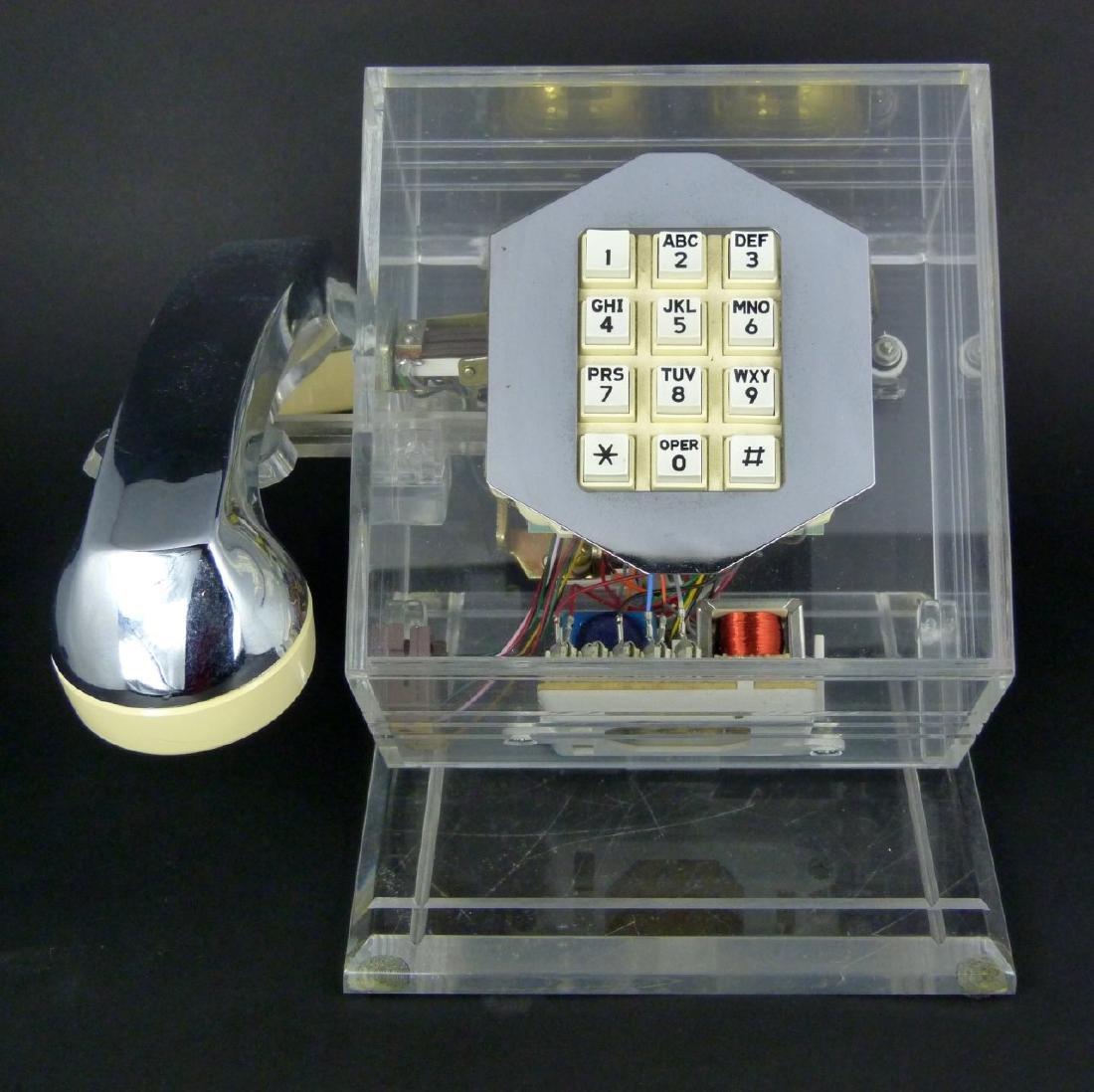 MID-CENTURY MODERN CHROME & LUCITE PHONE - 2