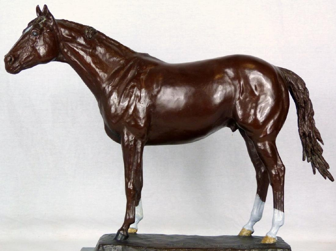 JIM RENO 'SECRETARIAT' BRONZE HORSE SCULPTURE - 2
