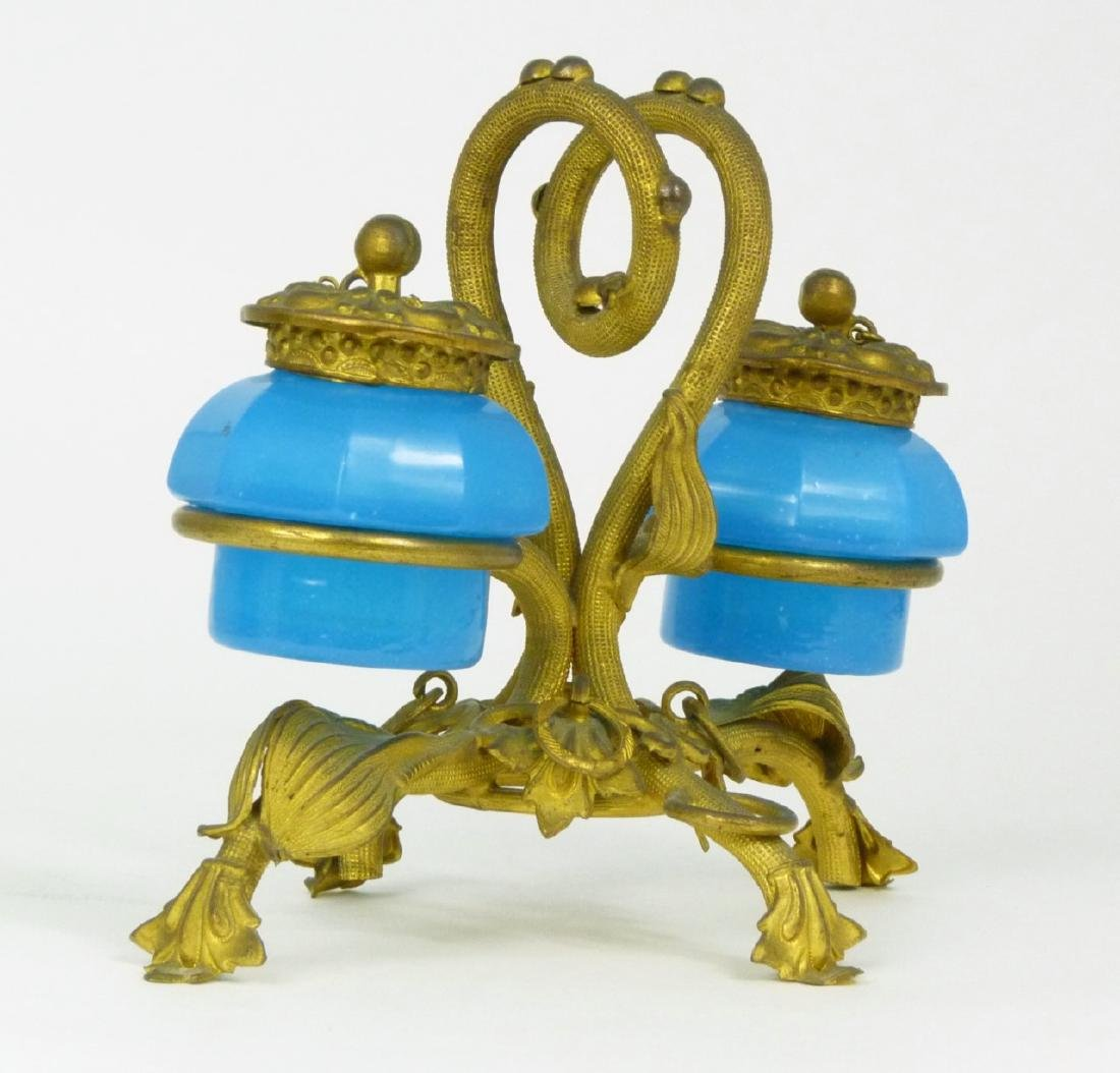 PALAIS ROYAL BLUE OPALINE DOUBLE INKWELL - 6