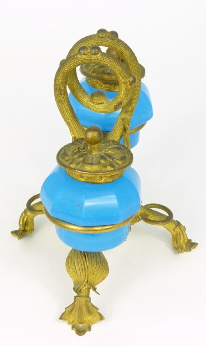 PALAIS ROYAL BLUE OPALINE DOUBLE INKWELL - 8