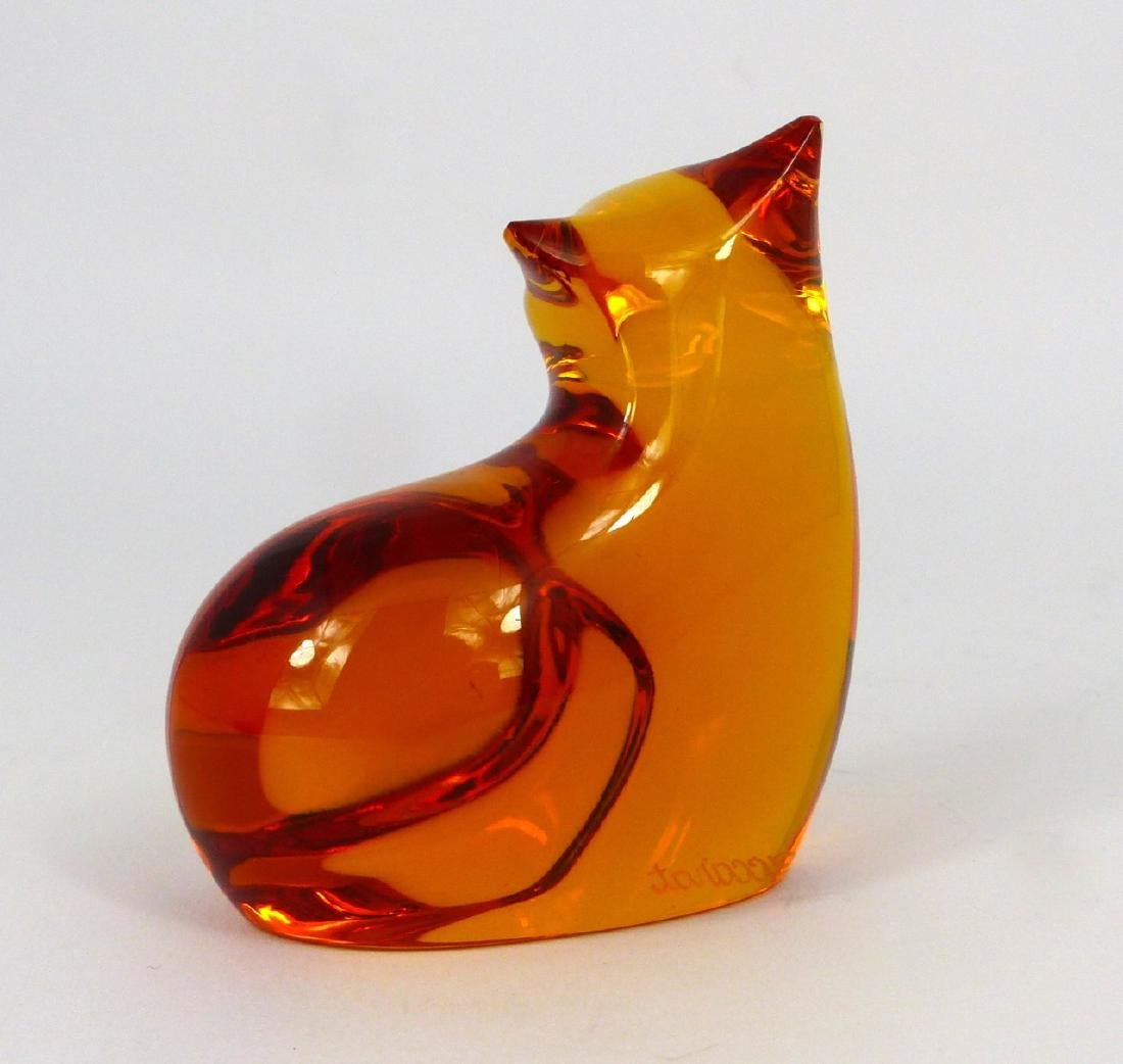 BACCARAT AMBER CRYSTAL CAT PAPERWEIGHT - 3