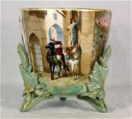 ANTIQUE FRENCH HAND PAINTED PORCELAIN PLANTER