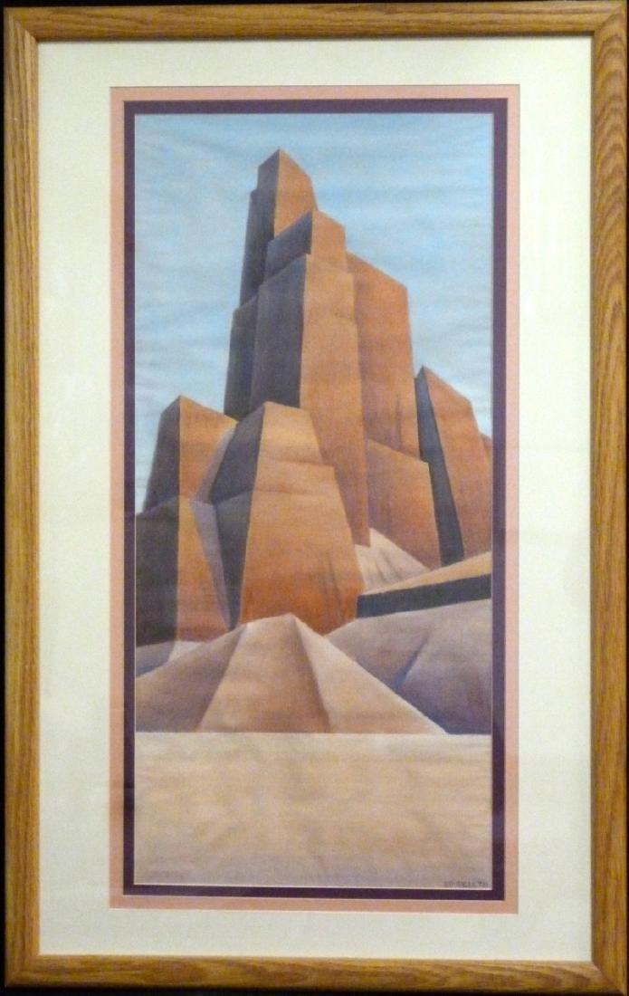 ED MELL 'DESERT LANDSCAPE' PASTEL ON PAPER
