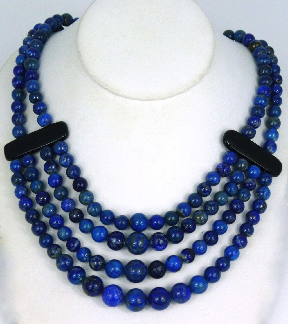 LAPIS LAZULI BEADED NECKLACE WITH ONYX & STERLING