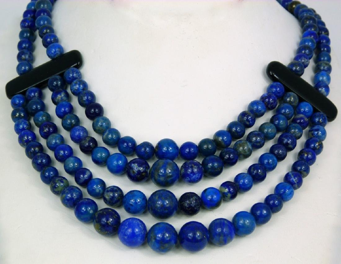 LAPIS LAZULI BEADED NECKLACE WITH ONYX & STERLING - 2