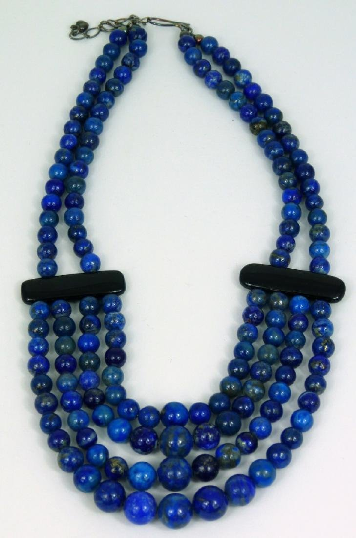 LAPIS LAZULI BEADED NECKLACE WITH ONYX & STERLING - 4