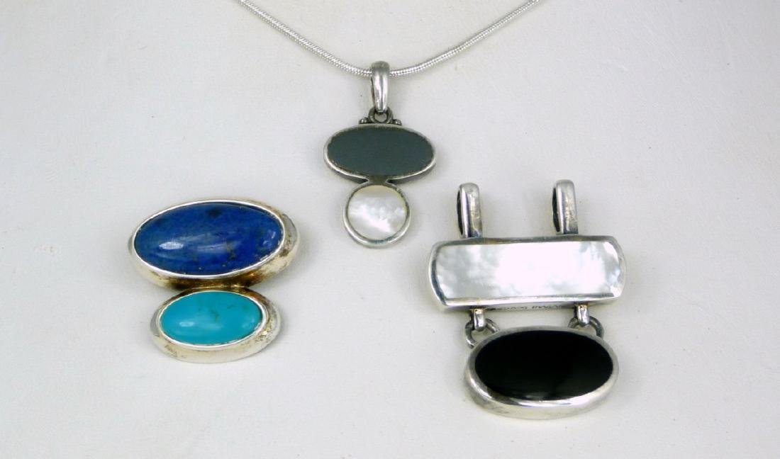4pc STERLING SILVER PENDANTS & NECKLACE