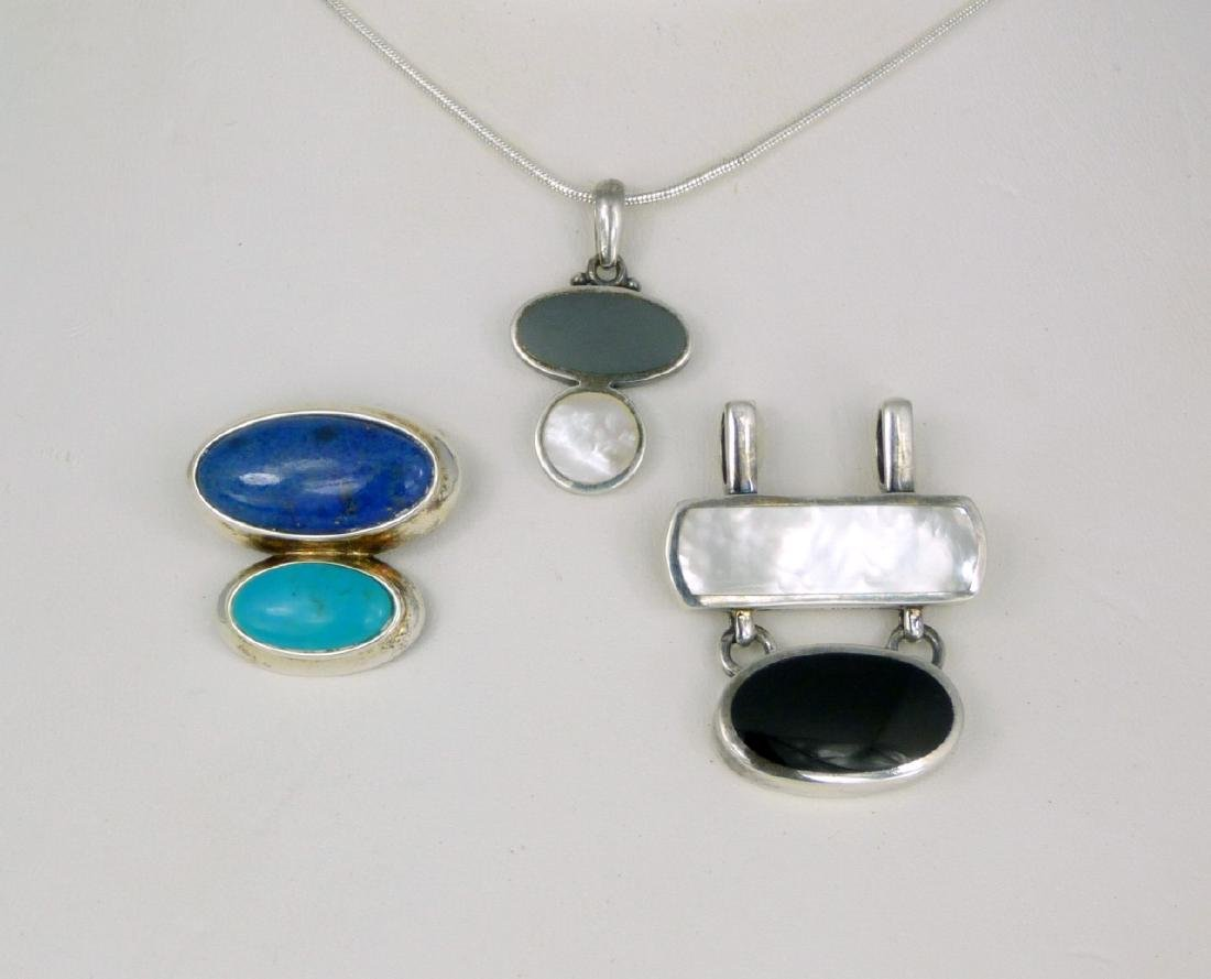 4pc STERLING SILVER PENDANTS & NECKLACE - 2