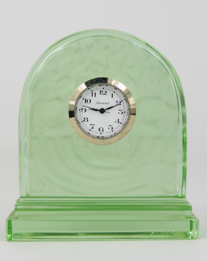 BACCARAT GREEN CRYSTAL DESK CLOCK