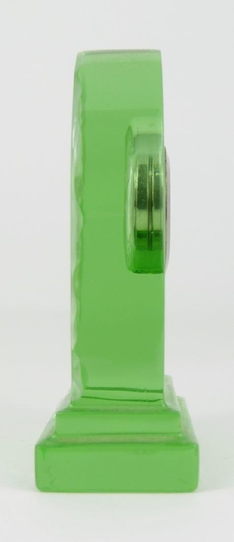 BACCARAT GREEN CRYSTAL DESK CLOCK - 2