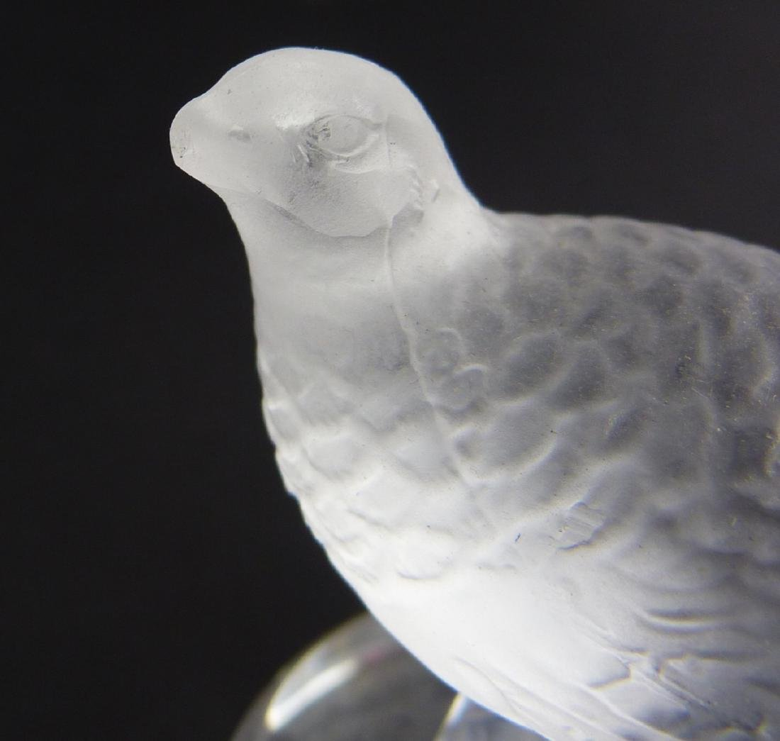 4pc LALIQUE CRYSTAL BIRD PAPERWEIGHTS & RING TRAY - 10