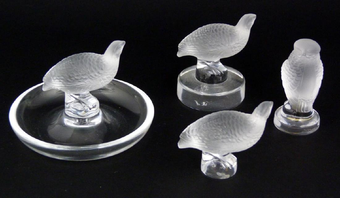 4pc LALIQUE CRYSTAL BIRD PAPERWEIGHTS & RING TRAY - 3