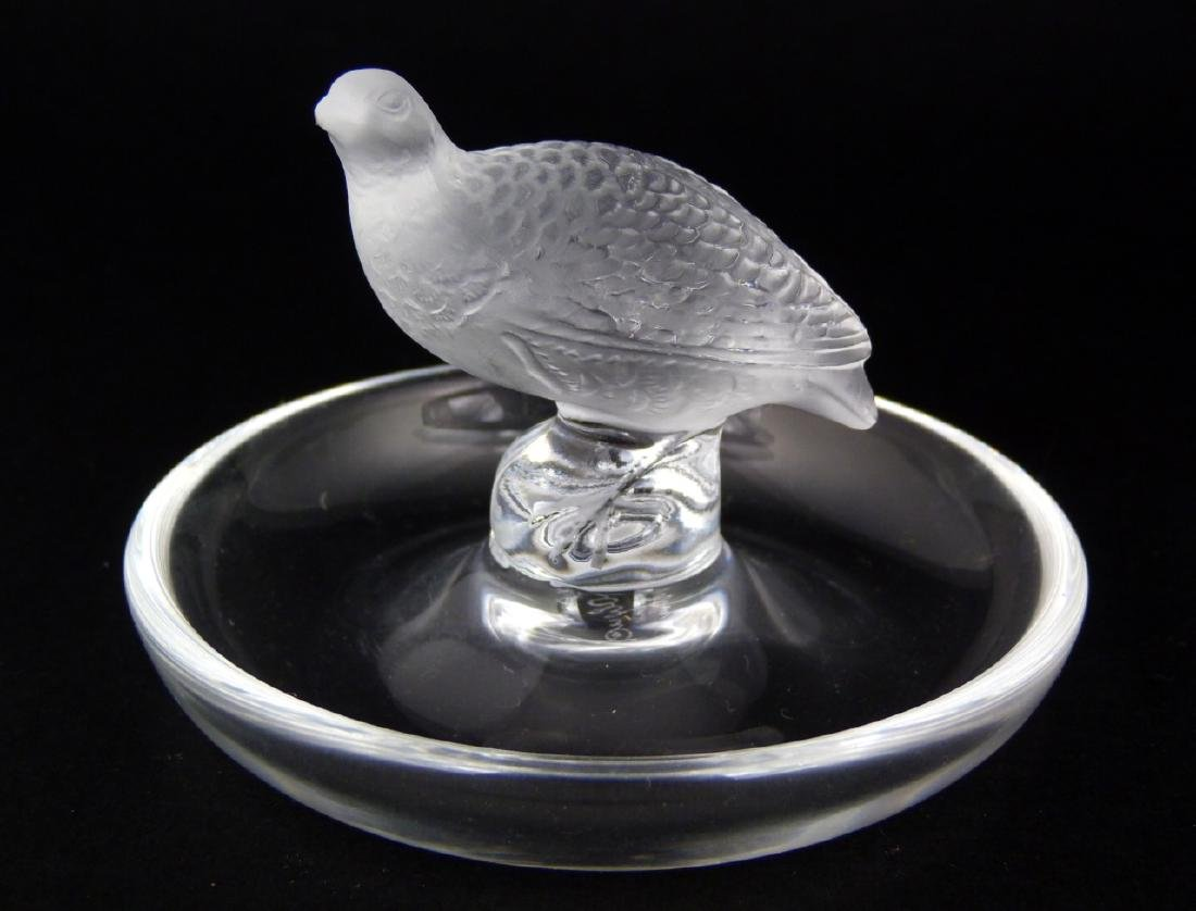 4pc LALIQUE CRYSTAL BIRD PAPERWEIGHTS & RING TRAY - 6