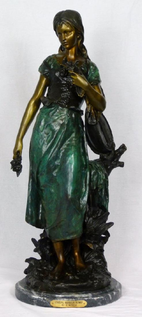 MOREAU 'STANDING MANDOLIN WOMAN' BRONZE SCULPTURE