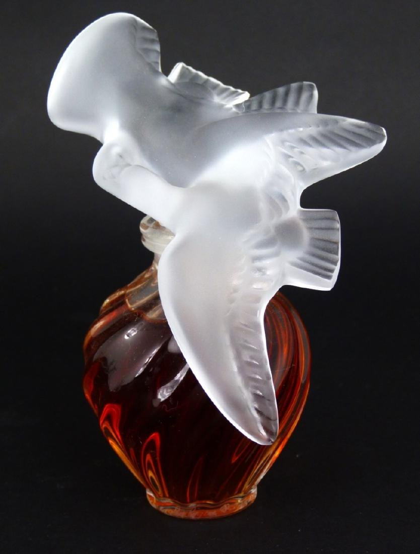 3pc LALIQUE FROSTED CRYSTAL PERFUME BOTTLES - 2