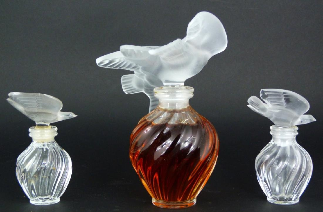 3pc LALIQUE FROSTED CRYSTAL PERFUME BOTTLES - 8