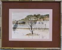 FREDERICK WILLIAM BECKER WATERCOLOR ON PAPER