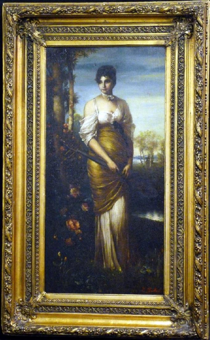 BECKERT 'LADY WITH LUTE' OIL PAINTING ON CANVAS