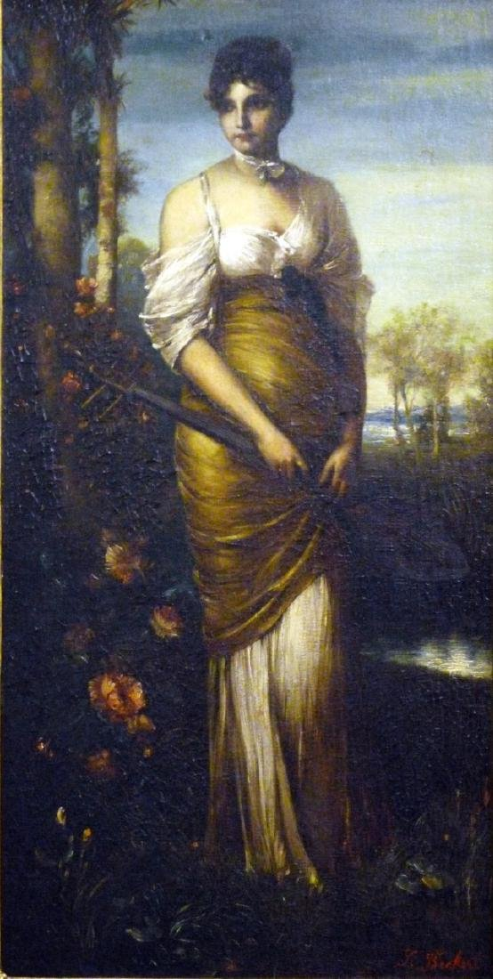 BECKERT 'LADY WITH LUTE' OIL PAINTING ON CANVAS - 2