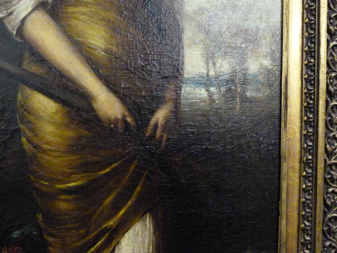 BECKERT 'LADY WITH LUTE' OIL PAINTING ON CANVAS - 5