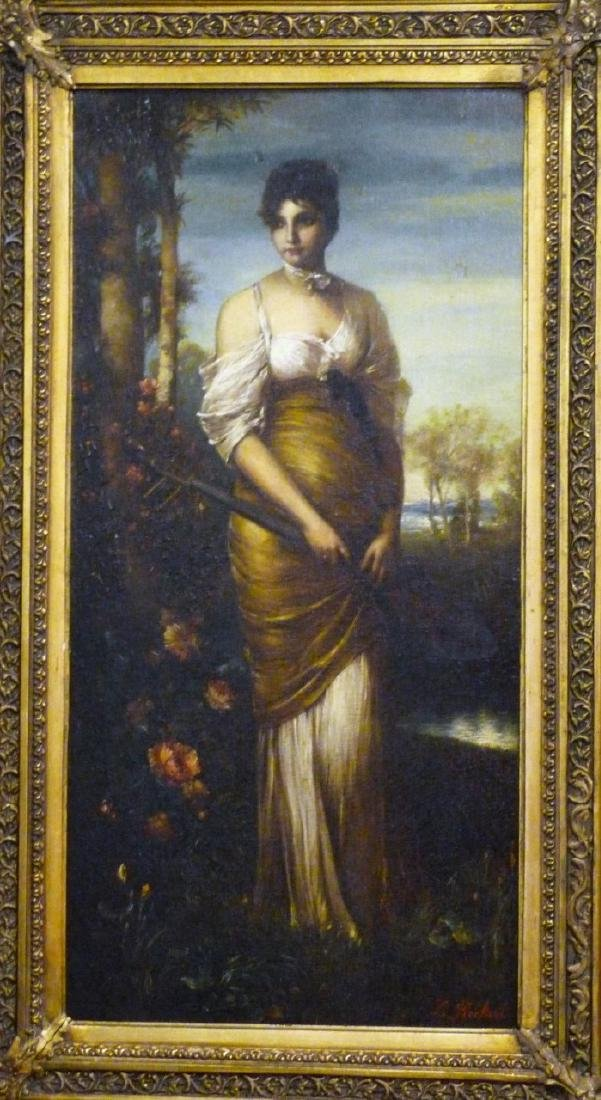 BECKERT 'LADY WITH LUTE' OIL PAINTING ON CANVAS - 8