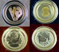 4pc FRANKLIN MINT STERLING SILVER PLATES