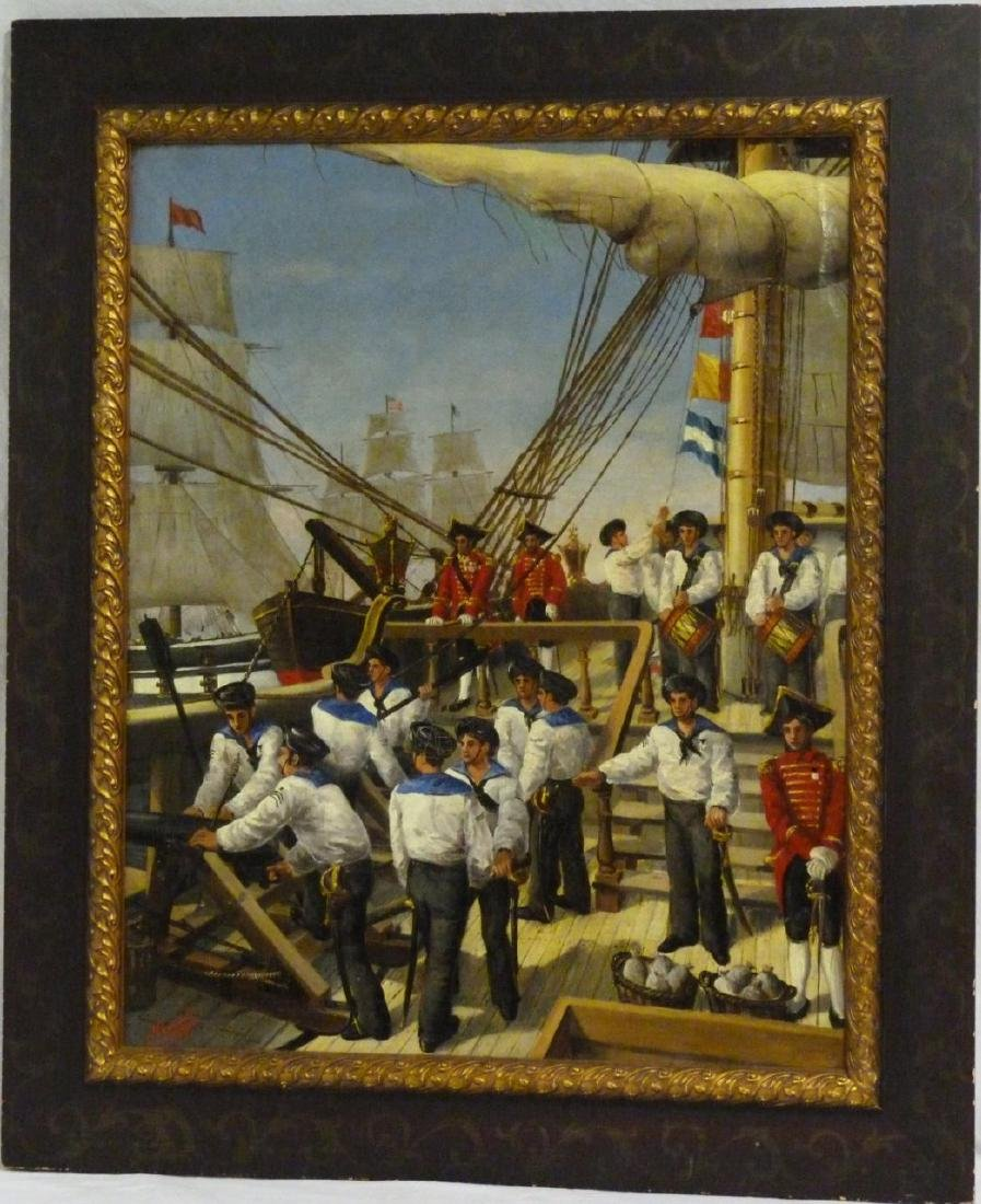 HENISCH 19th C MILITARY SHIP OIL PAINTING / CANVAS