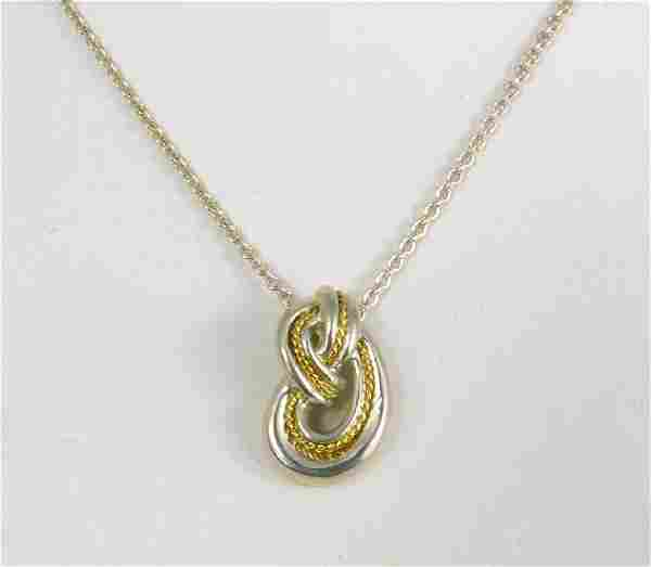 TIFFANY STERLING 18kt YG LOVE KNOT PENDANT & CHAIN