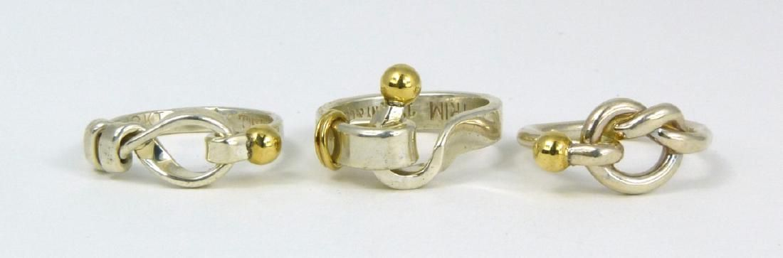 3pc TIFFANY & CO STERLING 18kt YG KNOT RINGS