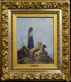 J BRUNO THE SHEPHERDESS OIL PAINTING ON CANVAS