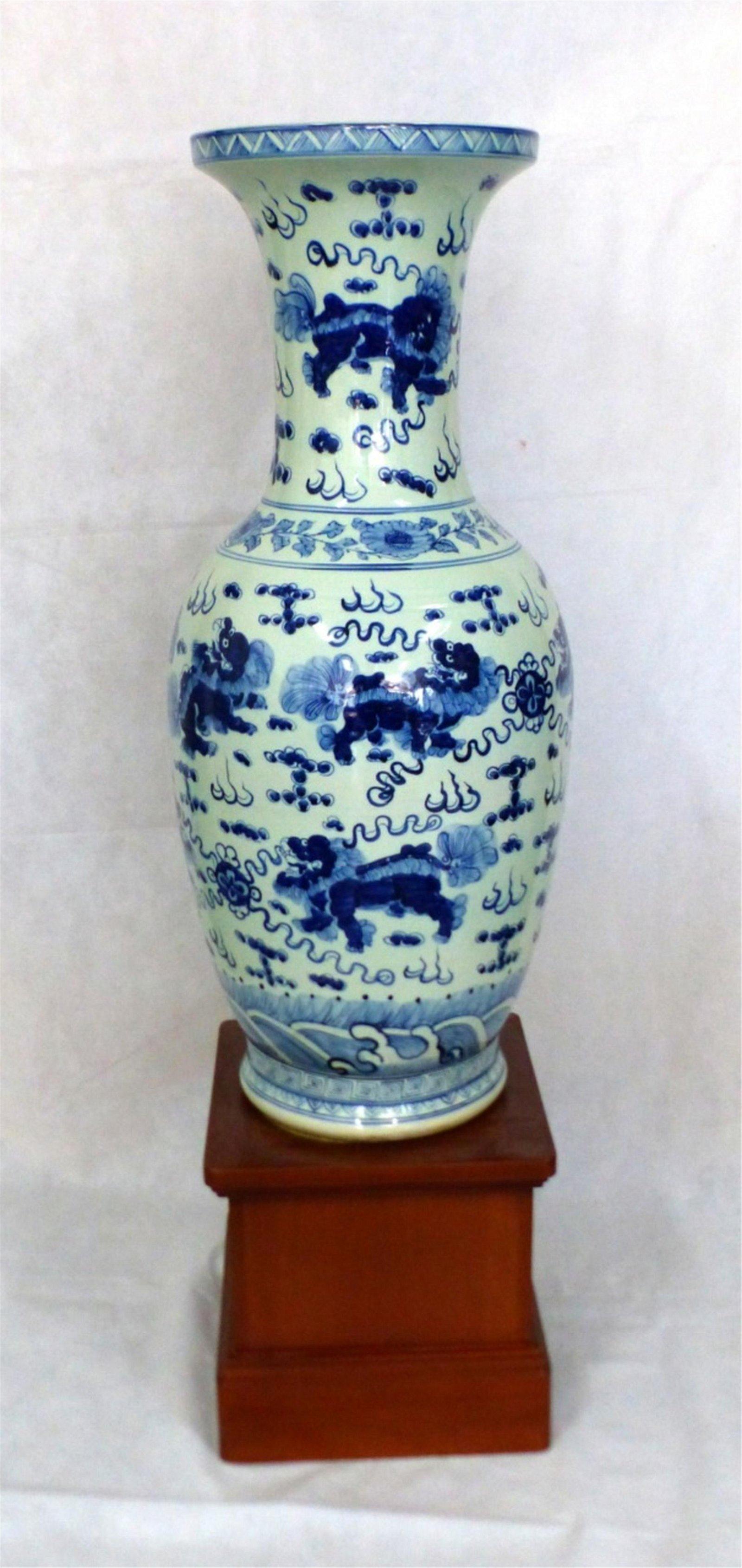 CHINESE BLUE & WHITE PORCELAIN FLOOR VASE