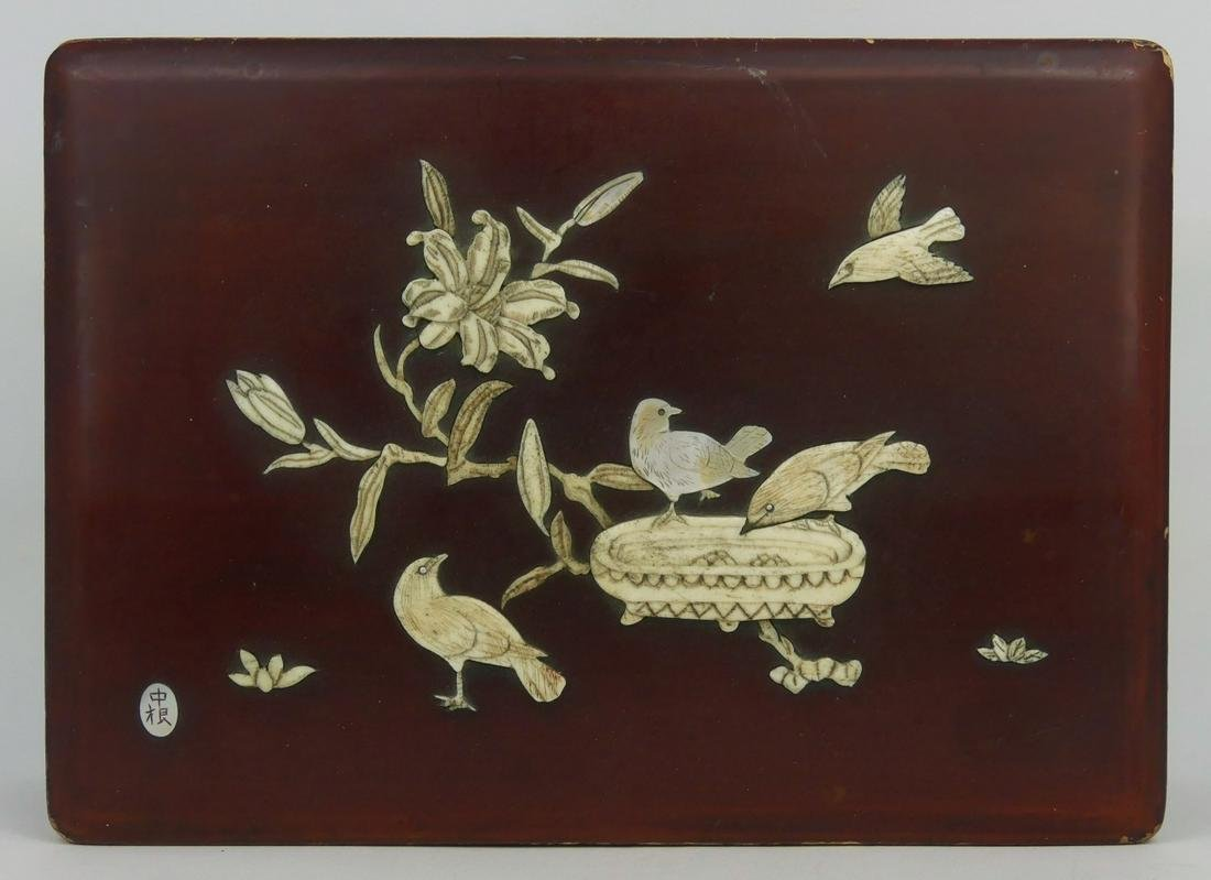 CHINESE BONE & MOTHER OF PEARL LACQUERED BOX