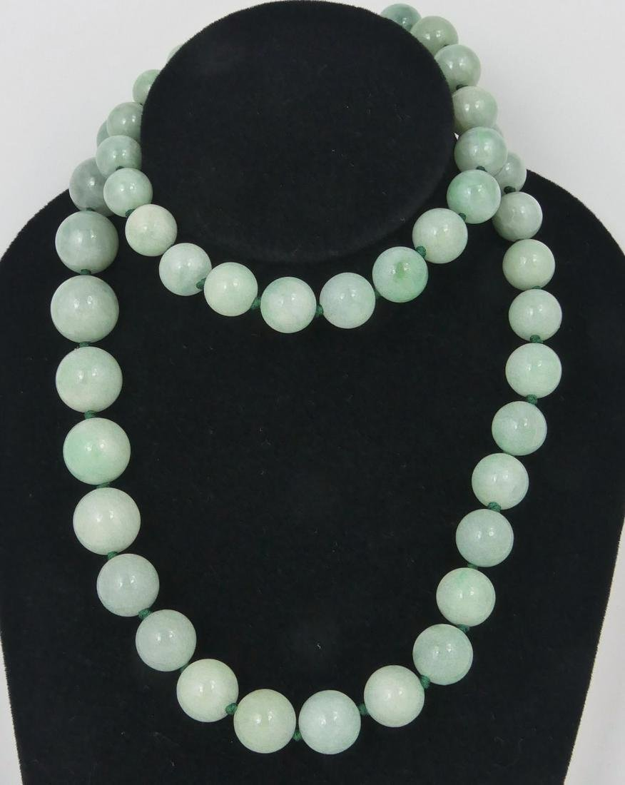 CHINESE JADEITE GRADUATED BEAD NECKLACE