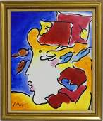PETER MAX 'LADY IN PROFILE' ACRYLIC ON CANVAS