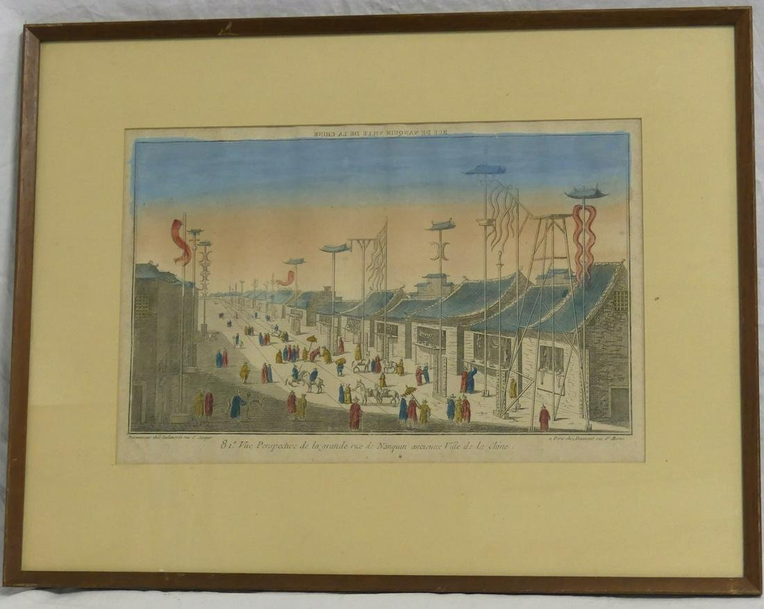 18th C HAND COLORED ENGRAVING OF NANQUIN