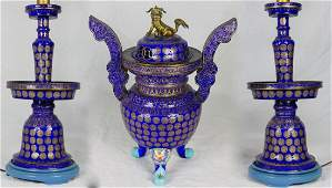 3pc CHINESE CLOISONNE URN & CANDLE HOLDERS