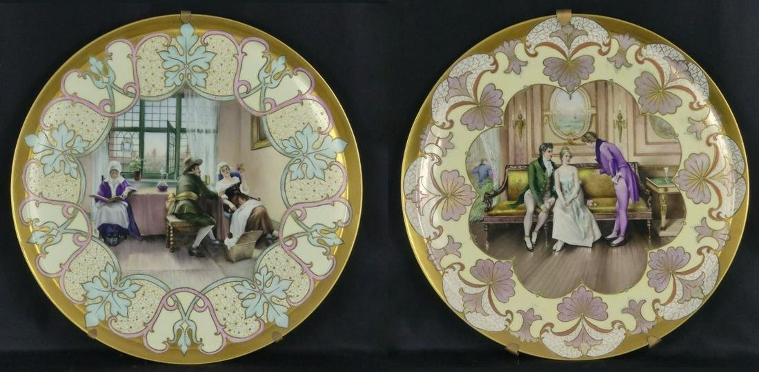 PR LIMOGES HAND PAINTED PORCELAIN CHARGERS