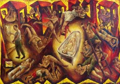 ARTURO RODRIGUEZ 'HOUSE' OIL ON CANVAS