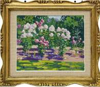 JOSEPH RAPHAEL 'ROSE GARDEN' OIL PAINTING ON BOARD