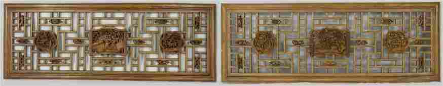 PR LARGE CHINESE CARVED WOOD PANELS